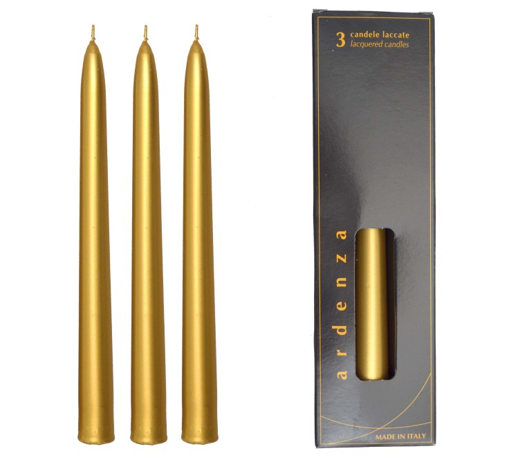 Set 3 candele Conico 250 oro/argento