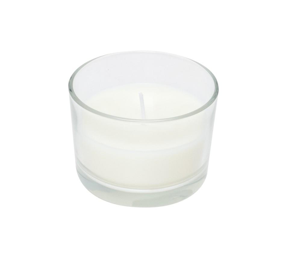 Candela bianca in vetro senza profumo