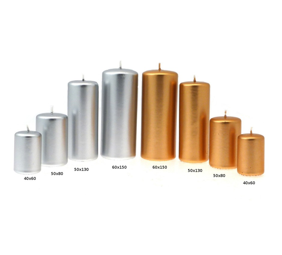 Candelotti linea Ardenza oro & argento con misure