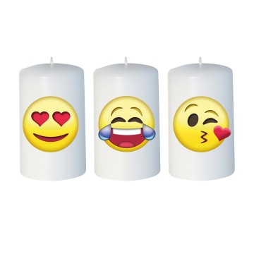 Set 3 candelotti Emoticon 50x80 mm