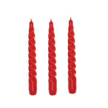 Set 3 candele Tortiglione 200 mm laccato rosso
