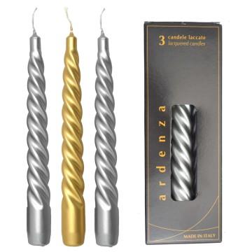Set 3 candele Tortiglione 200 oro/argento