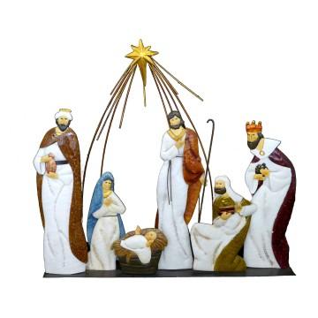 Sacra Famiglia con re magi 1 pz h 74 cm